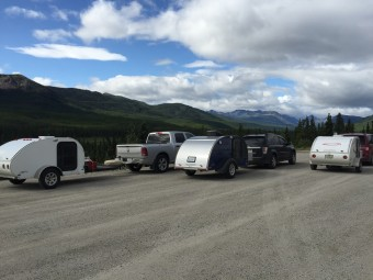Taking a break from driving once we entered into The Yukon.