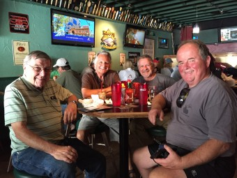 The four of us enjoying lunch and drinks at Humpy's in Anchorage.