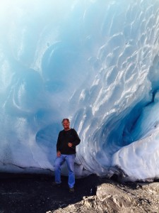 Inside an ice cave at Worthington Glacier.