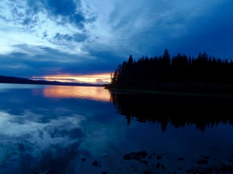 Sunset on McLeod Lake at Whiskers Point Provincial Park, BC.