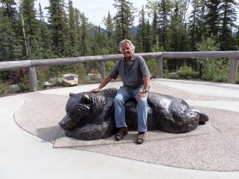 Sitting atop the Resting Grizzly sculpture at Denali Visitor's Center.