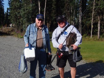 Tom and Mike getting ready to catch salmon on the Kenai River.