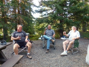 Mike, me, and Tom relaxing with some fine wine at Congdon Provincial Park in The Yukon.